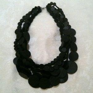 Black Foam Disc Multi Strand Statement Necklace